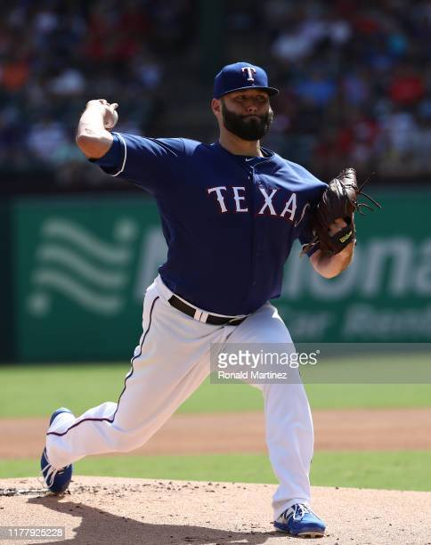 Lance Lynn of the Texas Rangers throws against the New York Yankees in the first inning at Globe Life Park in Arlington on September 29 2019 in...