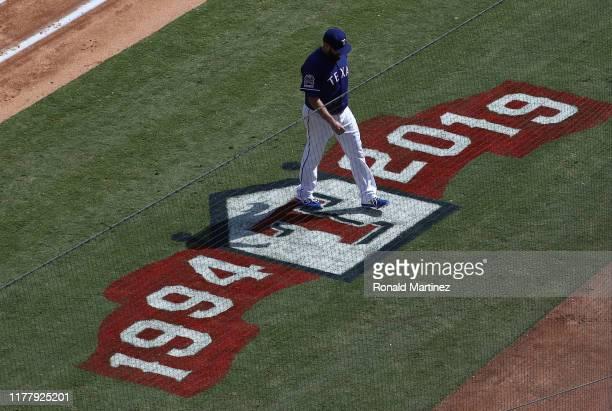Lance Lynn of the Texas Rangers walks to the dugout between innings against the New York Yankeesat Globe Life Park in Arlington on September 29 2019...