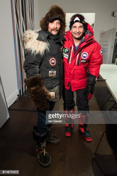 Lance Mackey and Ray Zahab wait backstage before the Canada Goose x London Celebrating London Flagship Opening and 60th Anniversary event on November...