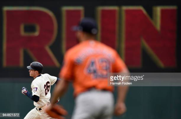 Lance McCullers Jr #43 of the Houston Astros looks on as Max Kepler of the Minnesota Twins rounds the bases after hitting a tworun home run during...
