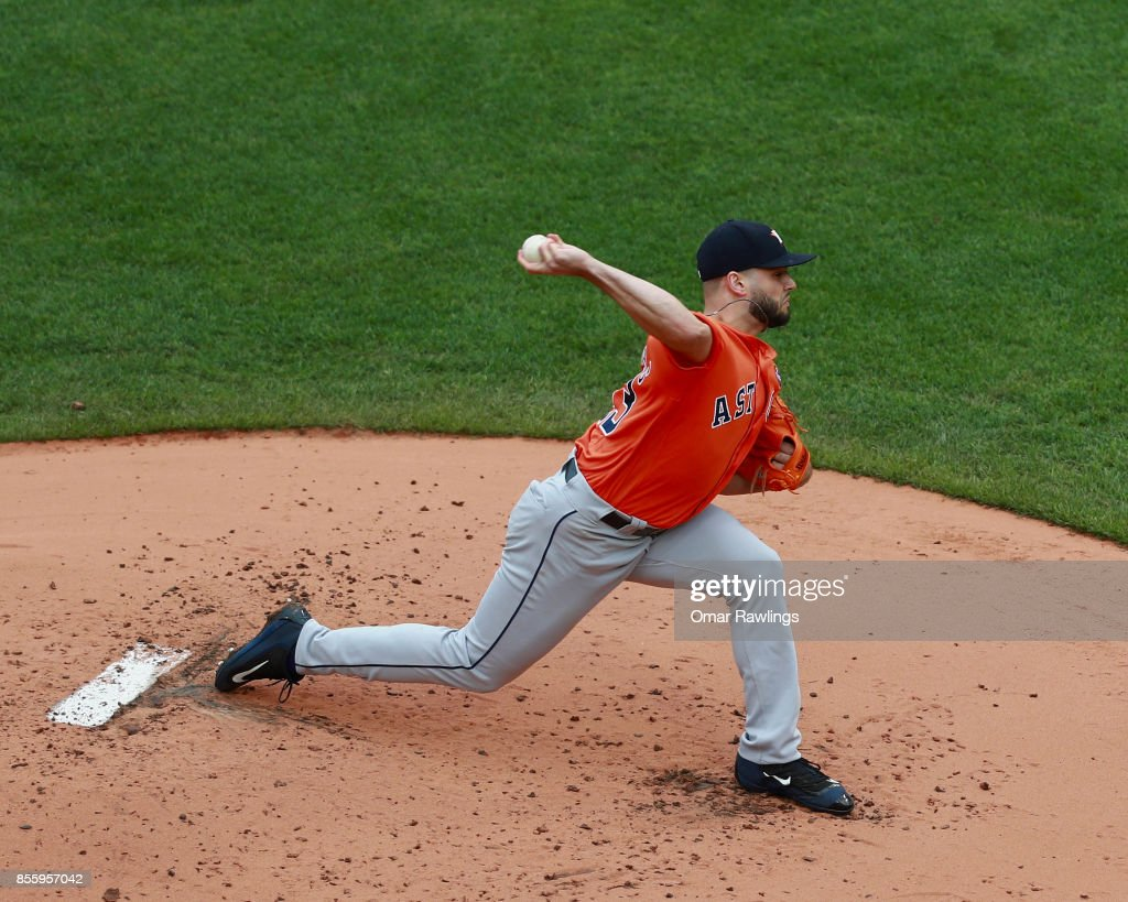 Lance McCullers Jr. #43 of the Houston Astros pitches in the bottom of the first inning during the game against the Boston Red Sox at Fenway Park on September 30, 2017 in Boston, Massachusetts.