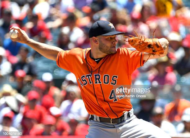 Cionel Perez of the Houston Astros pitches in the game against the Los Angeles Angels of Anaheim at Angel Stadium on July 22 2018 in Anaheim...