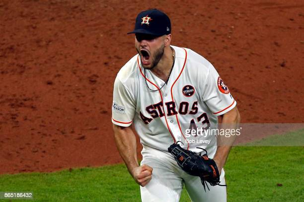 Lance McCullers Jr #43 of the Houston Astros reacts after striking out Aaron Judge of the New York Yankees in the eighth inning of Game Seven of the...
