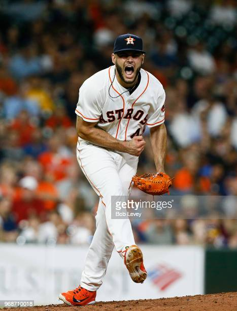 Lance McCullers Jr #43 of the Houston Astros reacts after striking out Andrew Romine of the Seattle Mariners in the sixth inning at Minute Maid Park...