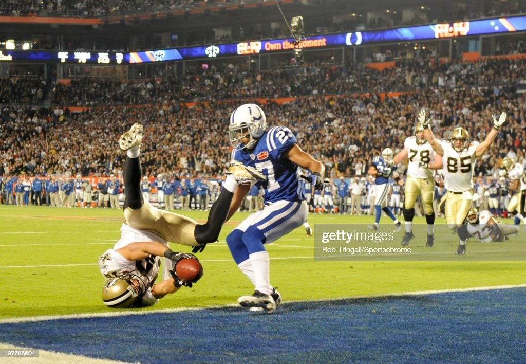 Lance Moore #16 of the New Orleans Saints catches a pass from Drew Brees #9 for a two point conversion against the Indianapolis Colts in the fourth quarter during Super Bowl XLIV on February 7, 2010 at Sun Life Stadium in Miami Gardens, Florida.
