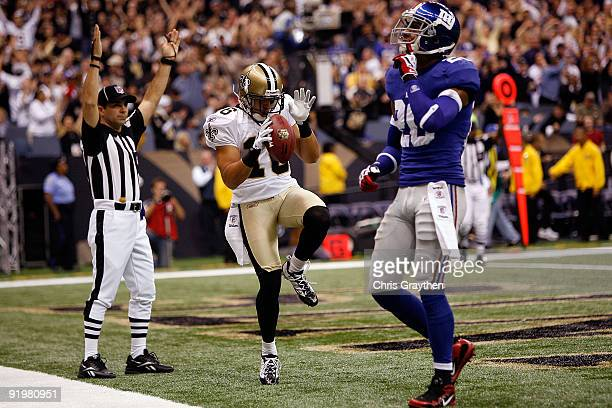 Lance Moore of the New Orleans Saints celebrates after scoring a touchdown against the New York Giants at the Louisiana Superdome on October 18 2009...