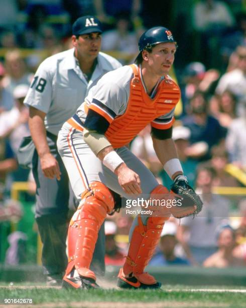 Lance Parrish of the Detroit Tigers catches during an MLB game versus the Chicago White Sox at Comiskey Park in Chicago Illinois during the 1985...