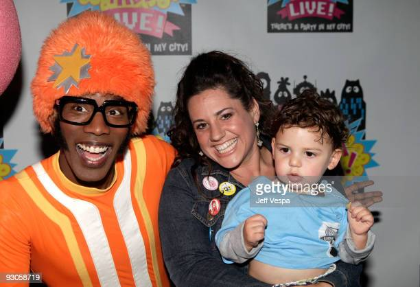 ACCESS*** 'DJ Lance Rock' poses with actress Marissa Jaret Winokur and son Zev Issac Miller at the first ever Yo Gabba Gabba 'There's A Party In My...
