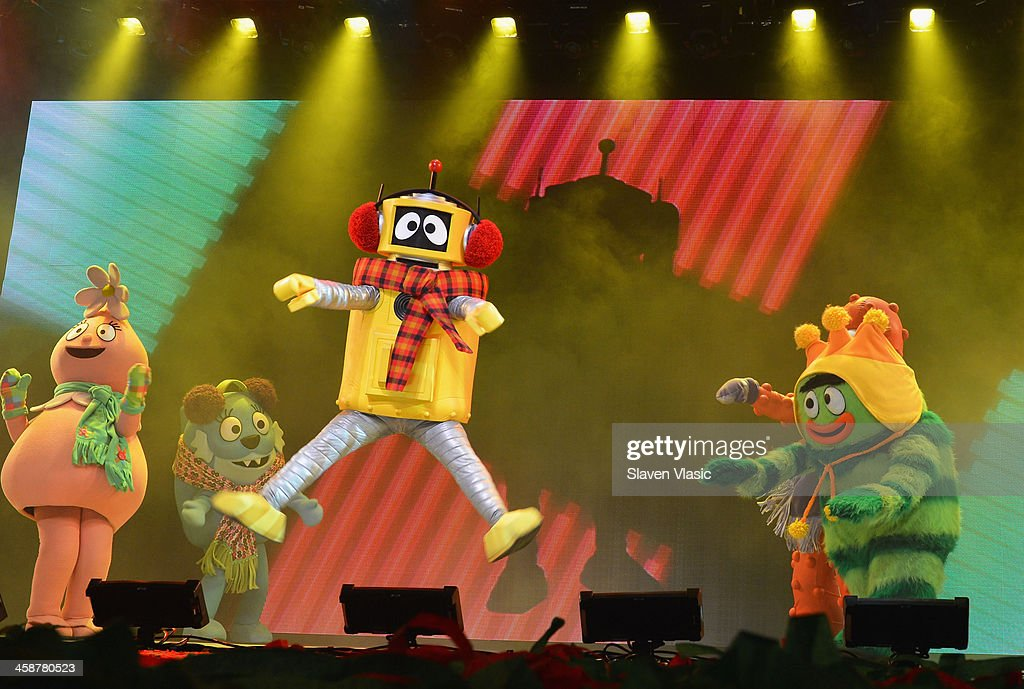 DJ Lance Rock with Muno, Foofa, Brobee, Toodee and Plex perform at 'Yo Gabba Gabba! Live!' at The Beacon Theatre on December 21, 2013 in New York City.