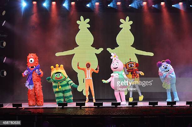Lance Rock with Muno Foofa Brobee Toodee and Plex perform at Yo Gabba Gabba Live at The Beacon Theatre on December 21 2013 in New York City