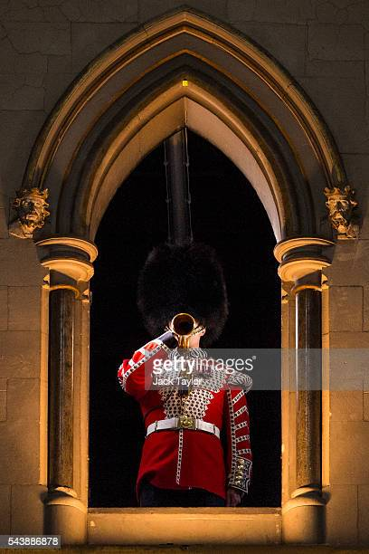 Lance Sergeant Stuart Laing from the Welsh Guards rehearses the Last Post on a bugle that was sounded at the Battle of the Somme at Westminster Abbey...