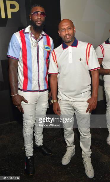 Lance Stephenson and Alex Gidewon attend The All White Affair at Gold Room on May 12 2018 in Atlanta Georgia