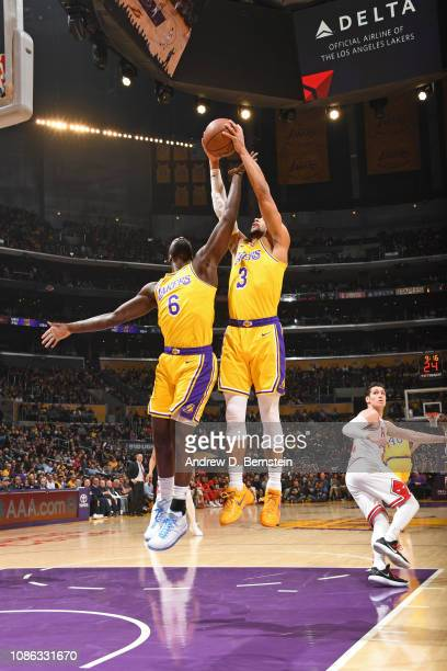 Lance Stephenson and Josh Hart of the Los Angeles Lakers go for a rebound against the Chicago Bulls on January 15 2019 at STAPLES Center in Los...
