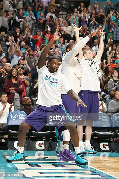 Lance Stephenson of the Charlotte Hornets does a happy dance with the win against the Indiana Pacers during the game at the Time Warner Cable Arena...