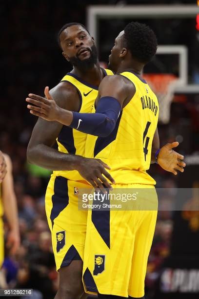 Lance Stephenson of the Indiana Pacers celebrates a first half basket with Victor Oladipo while playing the Cleveland Cavaliers in Game Five of the...