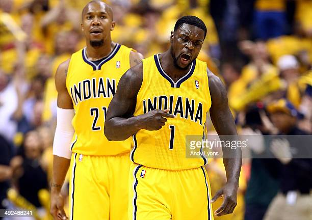 Lance Stephenson of the Indiana Pacers celebrates after making a basket against the Miami Heat during Game Two of the Eastern Conference Finals of...