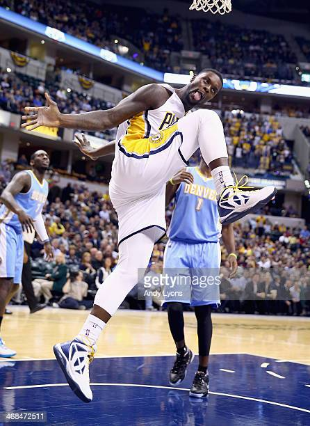 Lance Stephenson of the Indiana Pacers celebrates after scoring a basket during the game against the Denver Nuggets at Bankers Life Fieldhouse on...