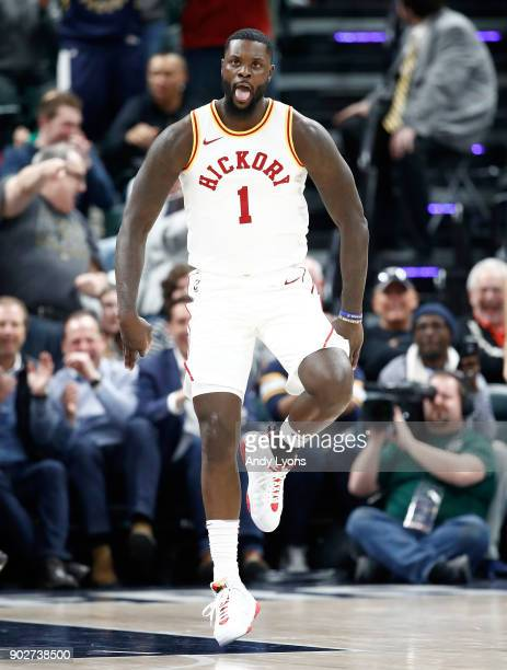Lance Stephenson of the Indiana Pacers celebrates against the Milwaukee Bucks during the game at Bankers Life Fieldhouse on January 8 2018 in...