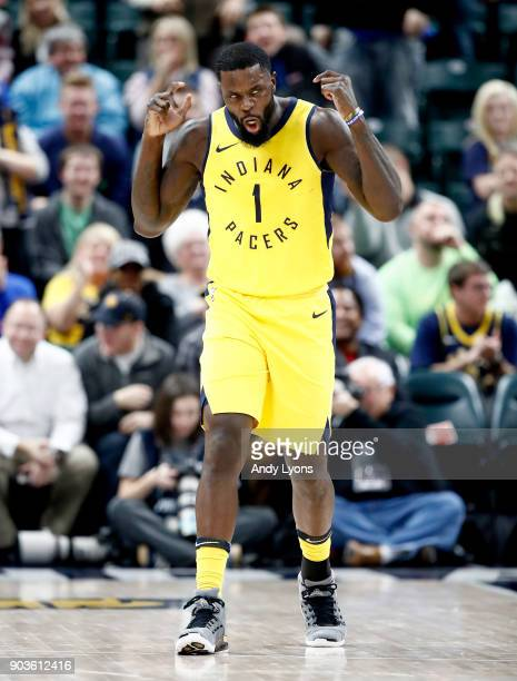 Lance Stephenson of the Indiana Pacers celebrates against the Miami Heat during the game at Bankers Life Fieldhouse on January 10 2018 in...