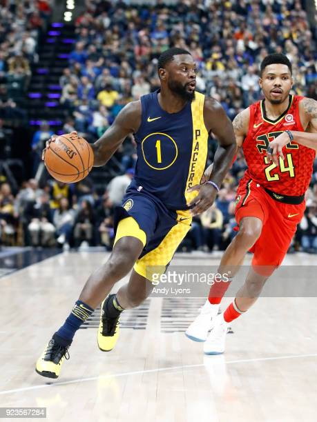 Lance Stephenson of the Indiana Pacers dribbles the ball against the Atlanta Hawks during the game at Bankers Life Fieldhouse on February 23 2018 in...