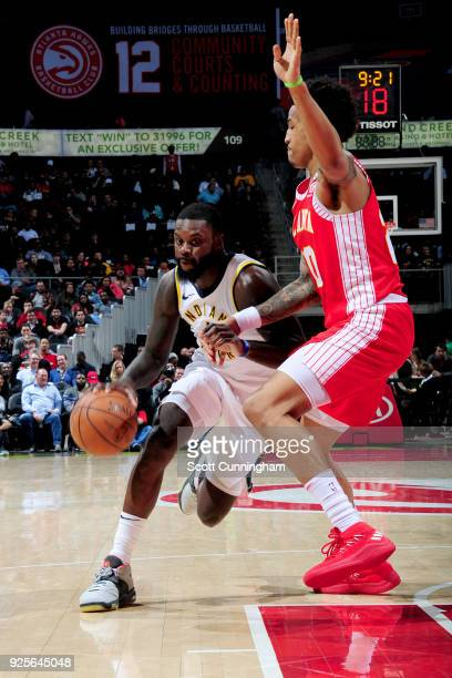 Lance Stephenson of the Indiana Pacers drives to the basket against the Atlanta Hawks on February 28 2018 at Philips Arena in Atlanta Georgia NOTE TO...