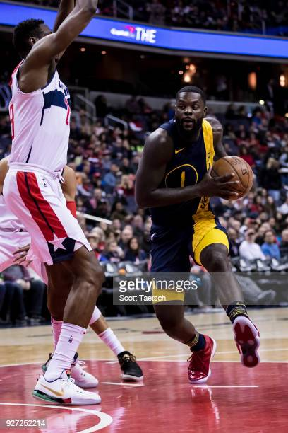 Lance Stephenson of the Indiana Pacers drives to the basket against the Washington Wizards during the first half at Capital One Arena on March 4 2018...