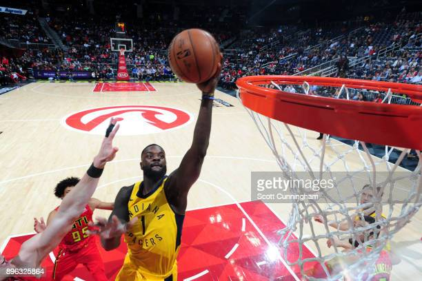 Lance Stephenson of the Indiana Pacers goes to the basket against the Atlanta Hawks on December 20 2017 at Philips Arena in Atlanta Georgia NOTE TO...