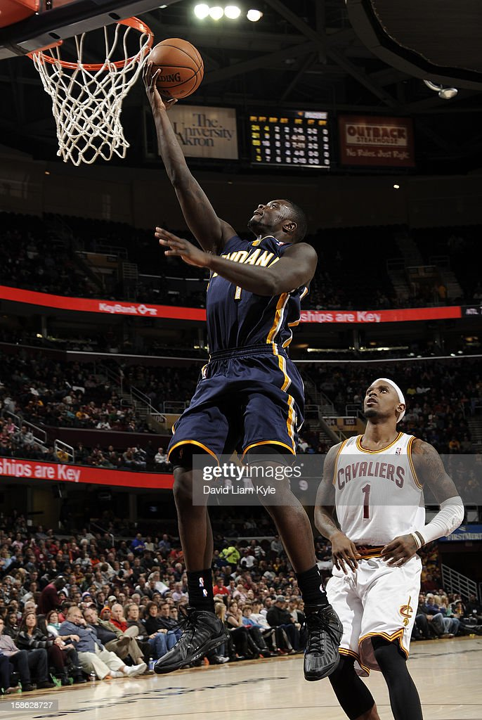 Lance Stephenson #1 of the Indiana Pacers goes up for the shot against Daniel Gibson #1 of the Cleveland Cavaliers at The Quicken Loans Arena on December 21, 2012 in Cleveland, Ohio.