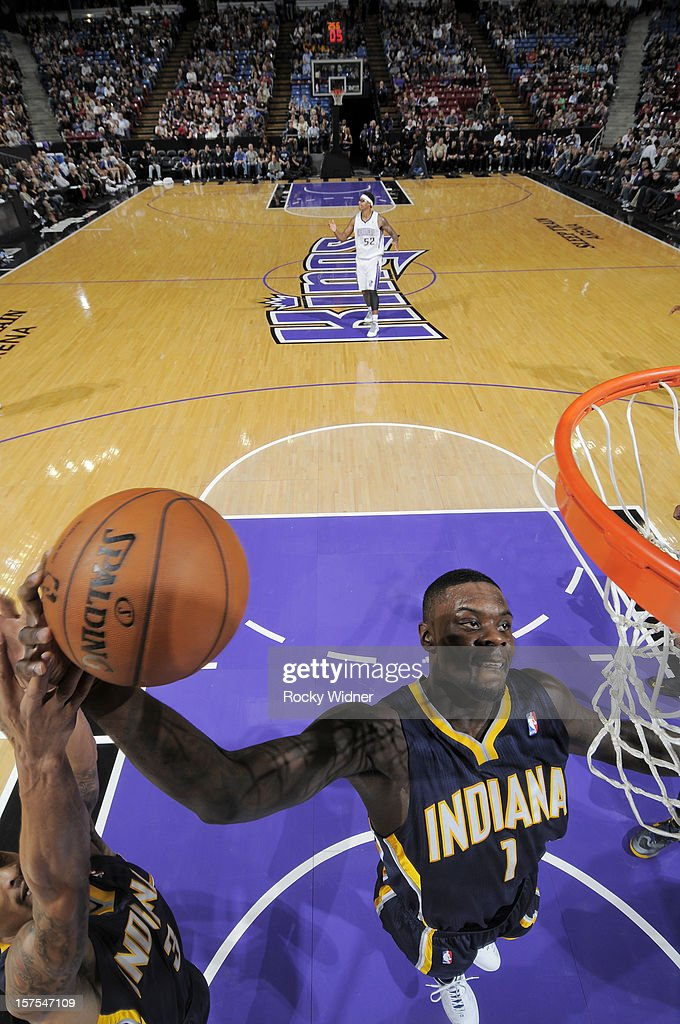 Lance Stephenson #1 of the Indiana Pacers grabs the rebound in a game against the Sacramento Kings on November 30, 2012 at Sleep Train Arena in Sacramento, California.