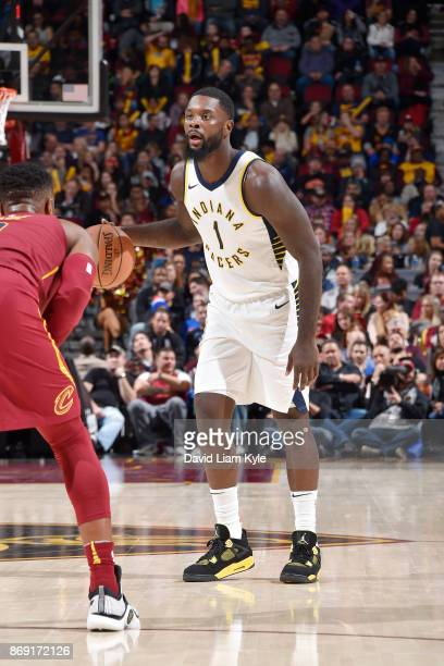 Lance Stephenson of the Indiana Pacers handles the ball against the Cleveland Cavaliers on November 1 2017 at Quicken Loans Arena in Cleveland Ohio...