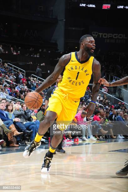 Lance Stephenson of the Indiana Pacers handles the ball against the Atlanta Hawks on December 20 2017 at Philips Arena in Atlanta Georgia NOTE TO...