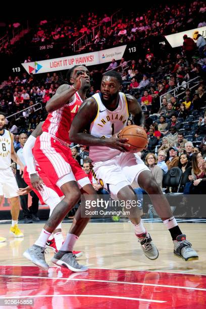 Lance Stephenson of the Indiana Pacers handles the ball against the Atlanta Hawks on February 28 2018 at Philips Arena in Atlanta Georgia NOTE TO...