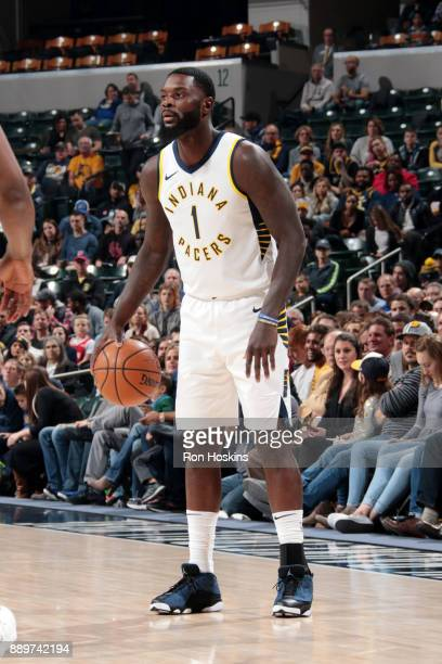 Lance Stephenson of the Indiana Pacers handles the ball during gate game against the Denver Nuggets on December 10 2017 at Bankers Life Fieldhouse in...
