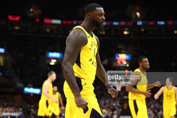 Lance Stephenson of the Indiana Pacers reacts while playing the Cleveland Cavaliers during the first half in Game One of the Eastern Conference...