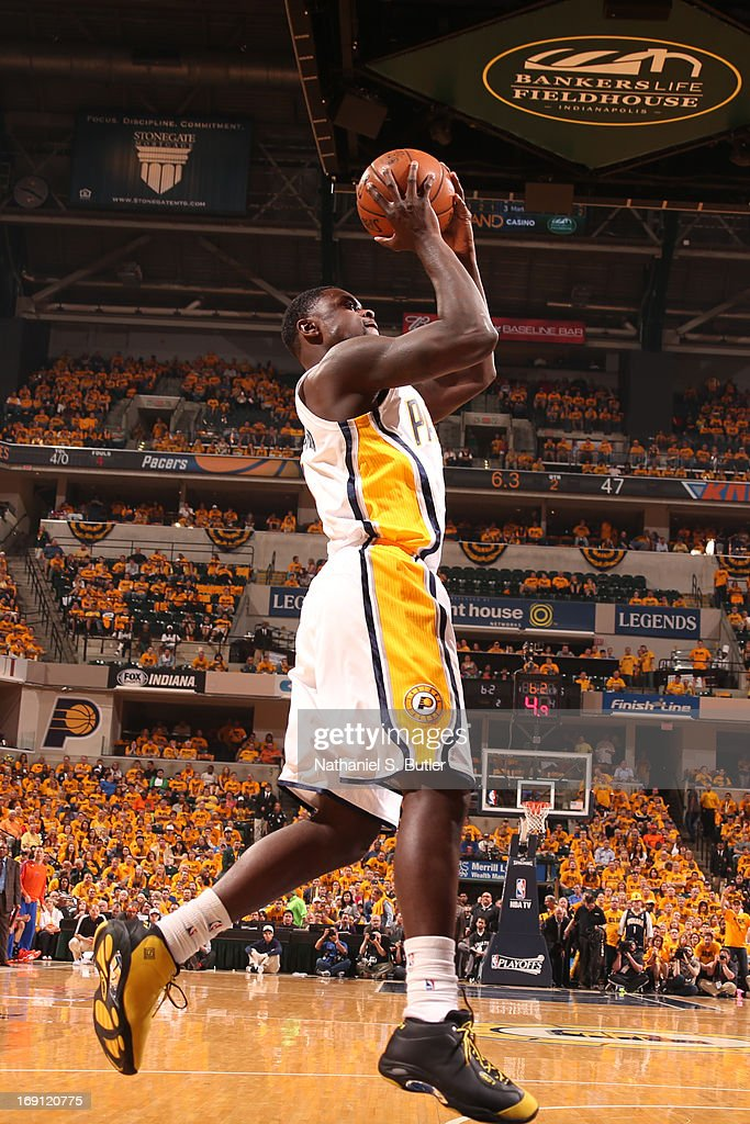 Lance Stephenson #1 of the Indiana Pacers shoots against the New York Knicks in Game Six of the Eastern Conference Semifinals during the 2013 NBA Playoffs on May 18, 2013 at Bankers Life Fieldhouse in Indianapolis, Indiana.