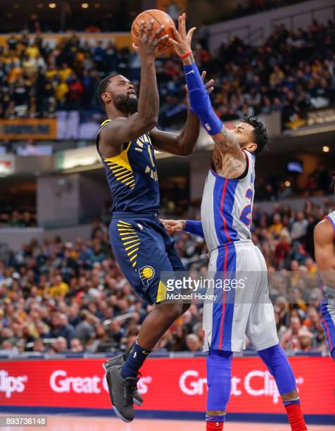 Lance Stephenson of the Indiana Pacers shoots the ball against Eric Moreland of the Detroit Pistons at Bankers Life Fieldhouse on December 15, 2017...