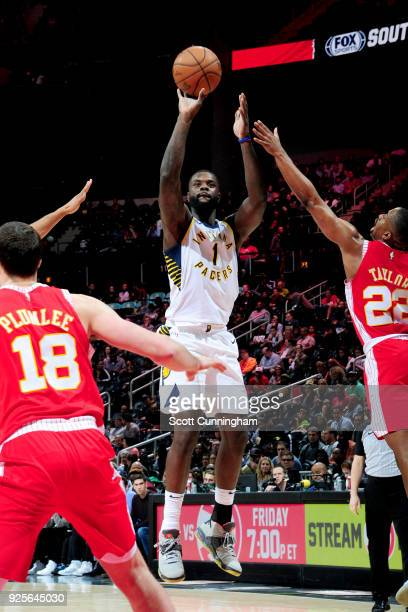Lance Stephenson of the Indiana Pacers shoots the ball against the Atlanta Hawks on February 28 2018 at Philips Arena in Atlanta Georgia NOTE TO USER...
