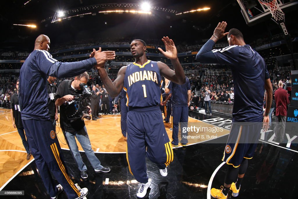 Lance Stephenson #1 of the Indiana Pacers walks onto the court during pregame against the Brooklyn Nets during a game at Barclays Center on November 9, 2013 in the Brooklyn borough of New York City.