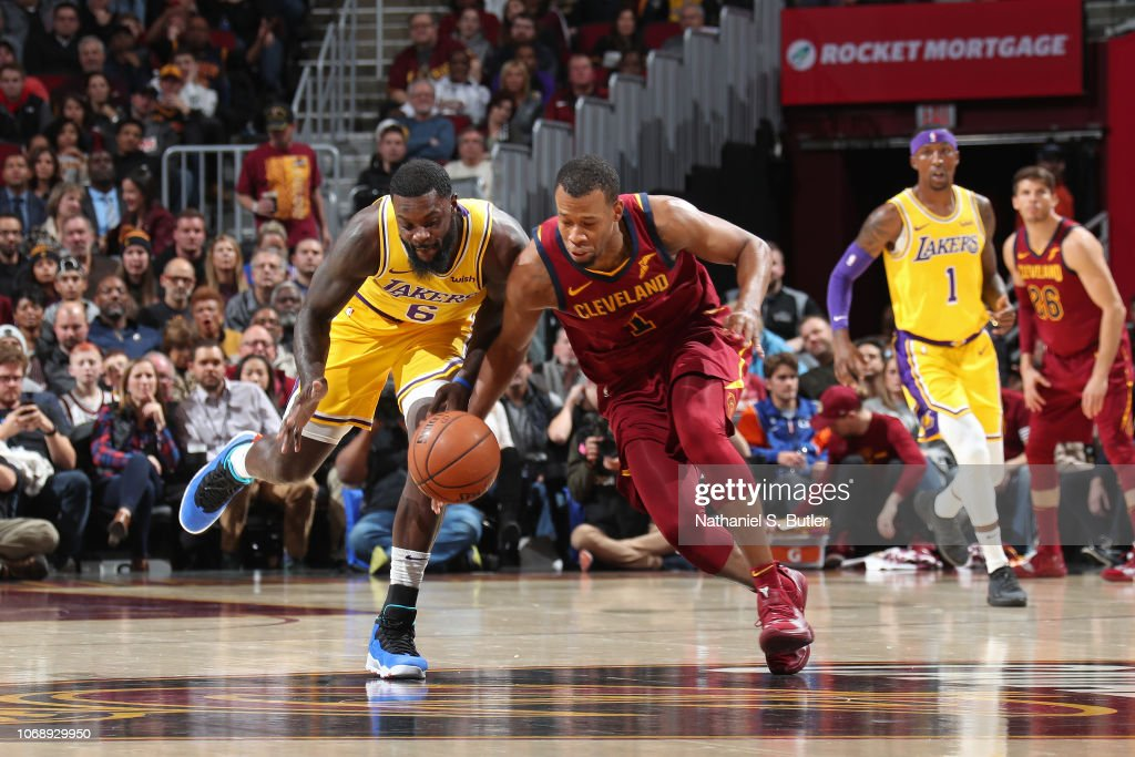 Lance Stephenson of the Los Angeles Lakers and Rodney Hood of the ... fa4a8f7ee