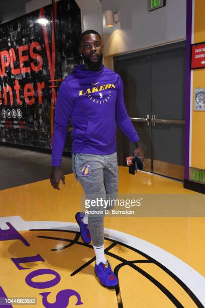 Lance Stephenson of the Los Angeles Lakers arrives to the arena prior to the preseason game against the Denver Nuggets on October 2 2018 at STAPLES...