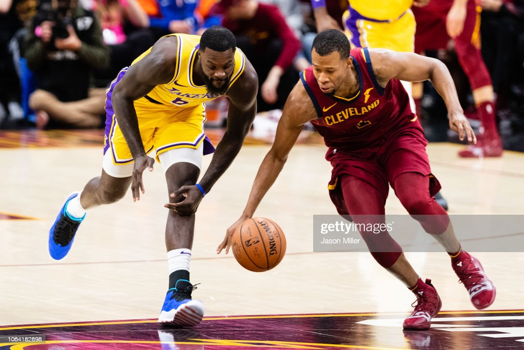 Lance Stephenson of the Los Angeles Lakers fights Rodney Hood of the ... 734496c63