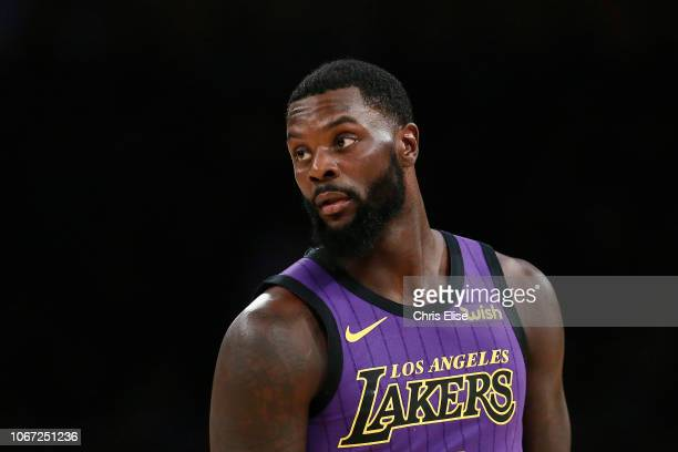 Lance Stephenson of the Los Angeles Lakers looks on during the game against the Utah Jazz on November 23 2018 at the STAPLES Center in Los Angeles...