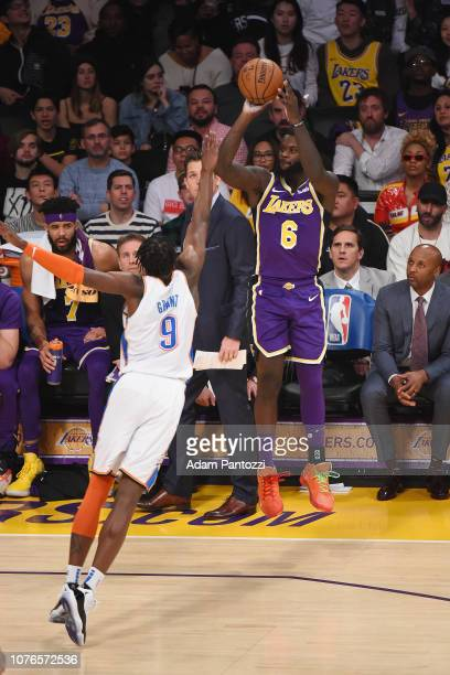 Lance Stephenson of the Los Angeles Lakers shoots a threepointer during the game against Jerami Grant of the Oklahoma City Thunder on January 2 2019...