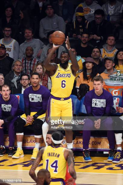 Lance Stephenson of the Los Angeles Lakers shoots a threepointer against the Houston Rockets on February 21 2019 at STAPLES Center in Los Angeles...