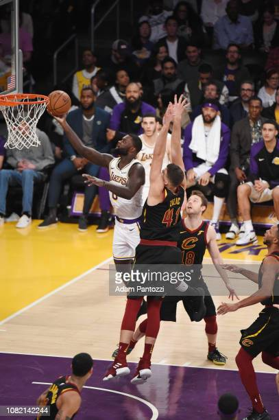 Lance Stephenson of the Los Angeles Lakers shoots the ball agains the Cleveland Cavaliers on January 13 2019 at STAPLES Center in Los Angeles...