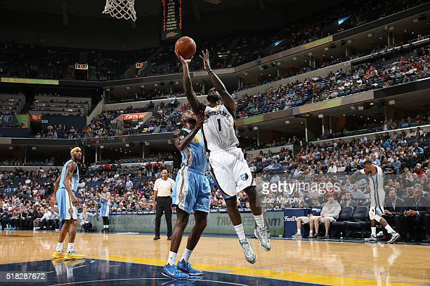 Lance Stephenson of the Memphis Grizzlies shoots the ball against the Denver Nuggets on March 30 2016 at FedExForum in Memphis Tennessee NOTE TO USER...