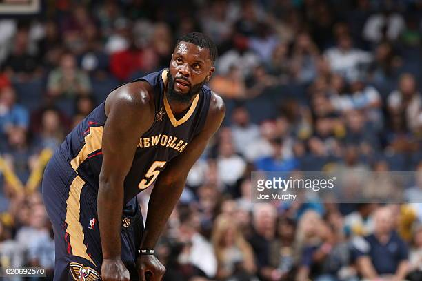 Lance Stephenson of the New Orleans Pelicans looks on against the Memphis Grizzlies on November 2 2016 at FedExForum in Memphis Tennessee NOTE TO...