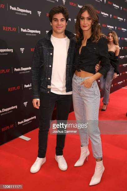 Lance Stroll and Helena Prestes attend the launch event for the new Capsule Collection Neymar Jr. X Replay at Weltstadthaus on February 13, 2020 in...