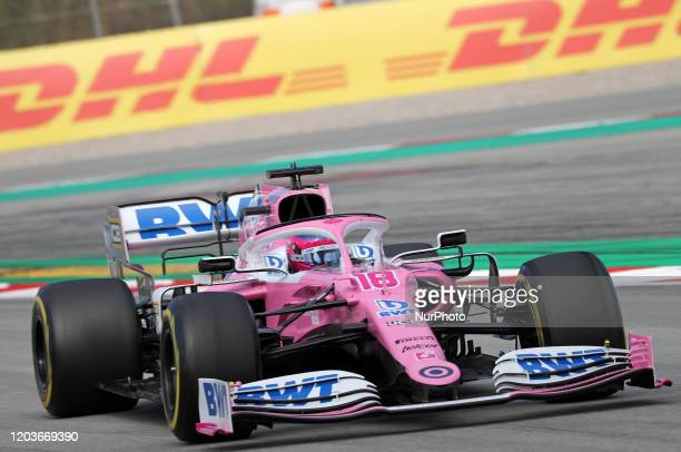 Lance Stroll and the Racing Point RP20 during the day 5 of the formula 1 testing on 27 February 2020 in Barcelona Spain