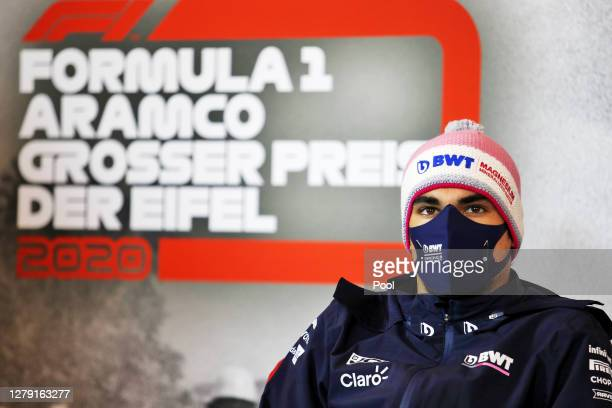 Lance Stroll of Canada and Racing Point talks in the Drivers Press Conference during previews ahead of the F1 Eifel Grand Prix at Nuerburgring on...